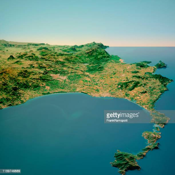 nurra sardinia italy 3d render horizon aerial view from north feb 2019 - frank ramspott stock pictures, royalty-free photos & images