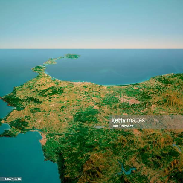 nurra sardinia italy 3d render horizon aerial view from south feb 2019 - frankramspott foto e immagini stock