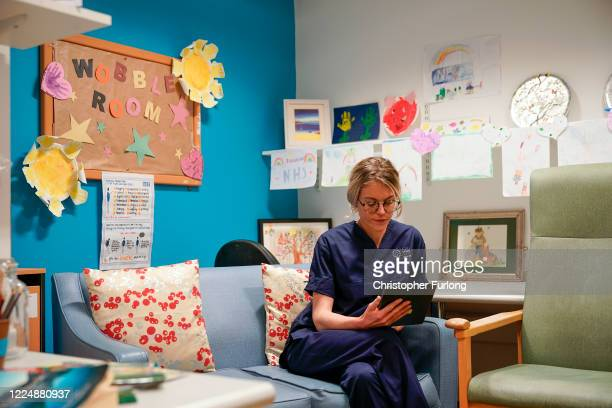 Nurse Amie Cavanagh uses an Ipad provided by local NHS charity Awyr Las in the Wobble Room at Glan Clwyd Hospital. The Wobble room is provided for...