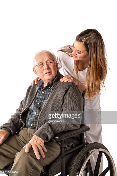 nurse and elderly man with wheelchair - nurse and portrait and white background and smiling and female and looking at camera stock pictures, royalty-free photos & images