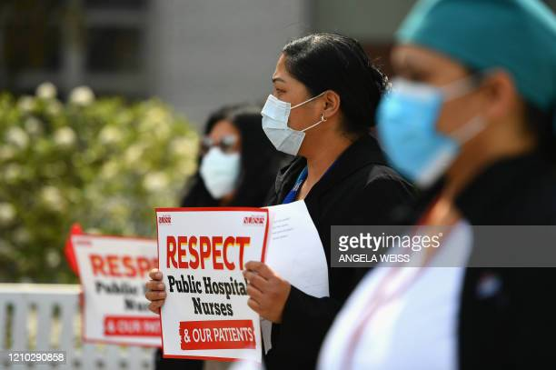 Nurse and health care workers of Jacobi Medical Center hold a rally against a new paid sick leave policy by NYC Health + Hospitals that mandates...