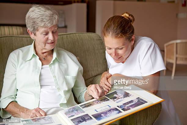 Nurse and resident in a retirement home