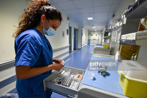 Nurse at work in the area dedicated to Covid 19 inside the Mauriziano Hospital in Turin on October 12, 2020 in Turin, Italy. The new COVID-19 Areas...