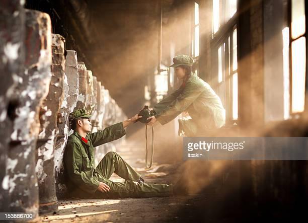 Nurse bringing water to helpless rebellion