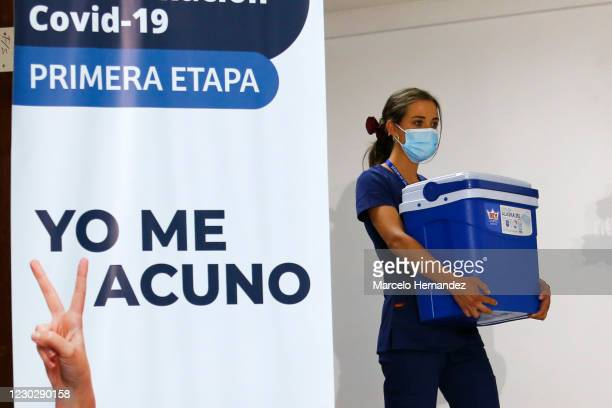 Nurse carries a cooler with Pfizer/BioNTech vaccines at Hospital Metropolitano on December 24, 2020 in Santiago, Chile. After receiving this morning...
