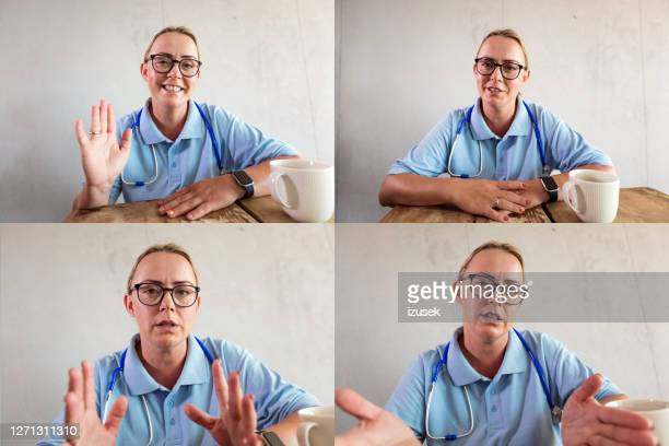 nurse during video call - doctor stock pictures, royalty-free photos & images
