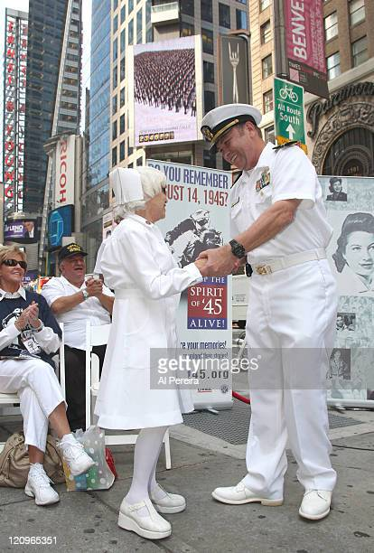 Nurse Edith Shain and Lt Bob Skibar stage a reenactment of Alfred Eisenstaedt's famous Kiss Photo from August 14 1945 at Military Island in Times...