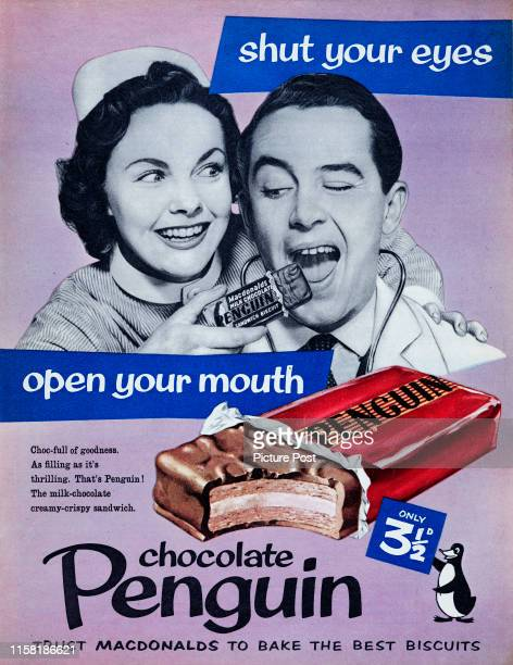 A nurse feeds a doctor a Penguin chocolate bar with the caption 'Shut your eyes open your mouth' Original Publication Picture Post Ad Vol 74 No 11 P...