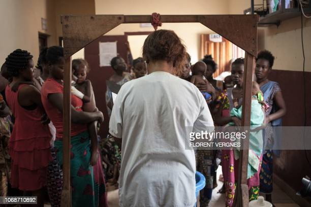 A nurse from the Bangui paediatric complex will carry out the daily weighing of malnourished children on December 4 2018 In Central African Republic...