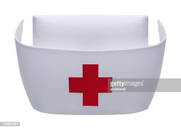 Enfermera sombrero sobre blanco