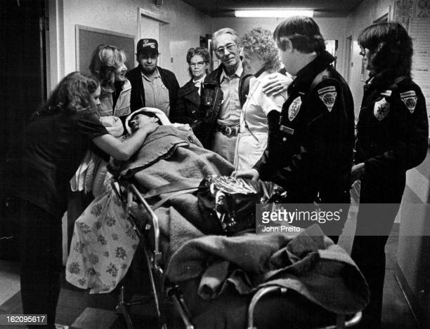 APR 4 1983 451983 Nurse Home 2 Geraldine Harris on stretcher Husband Dale 11th From right