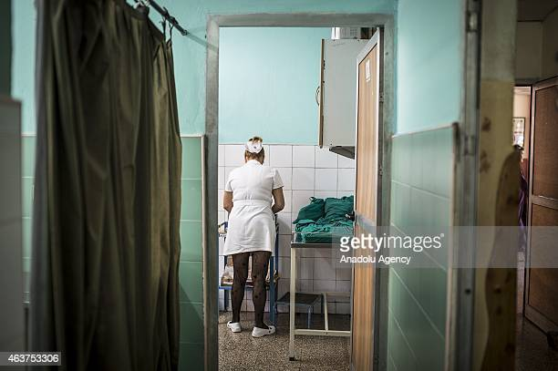 A nurse is seen at the '19 De Abril' hospital in Havana Cuba on February 12 2015 In average 20 or 30 patient are treated in a day at the 19 De Abril...