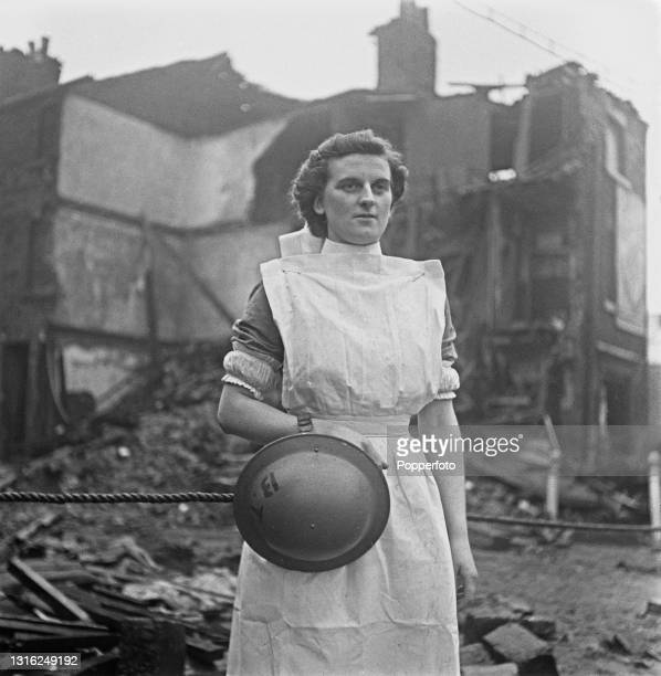 Nurse Marjorie Harrison of the Ministry of Health Emergency Blood Transfusion Service mobile unit, prepares to attend to casualties rescued from the...