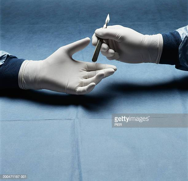 nurse passing scalpel to surgeon, close-up - scalpel stock photos and pictures