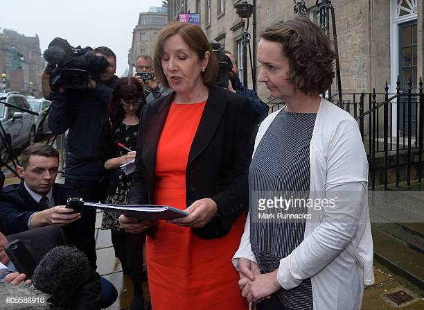 Nurse Pauline Cafferkey and her solicitor leave a Nursing and Midwifery Council hearing on September 14 2016 in Edinburgh Scotland The Scottish nurse...