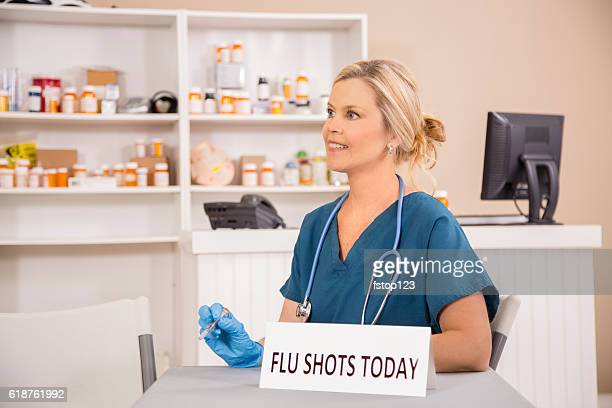 Nurse prepares flu vaccine for patients at local pharmacy.