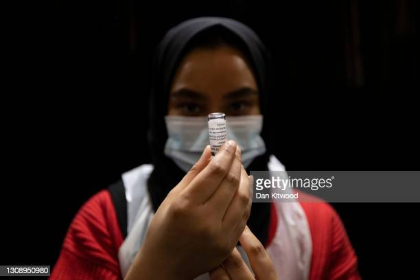 Nurse prepares the AstraZeneca jab at East London Mosque on March 24, 2021 in London, England. After weeks of tensions over Covid vaccine supplies,...