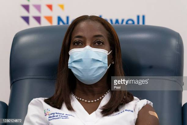 Nurse Sandra Lindsay participates in a conference call with Gov. Andrew Cuomo after she is inoculated with the COVID-19 vaccine, December 14, 2020 at...