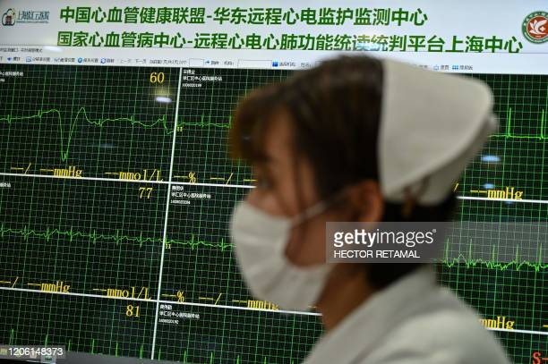 Nurse walks in an area where doctors take video calls from patients suffering various symptoms and illnesses, to avoid crowding at Xuhui District...
