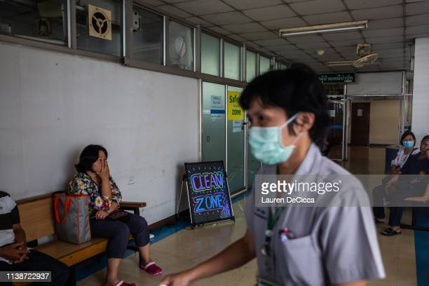 A nurse walks past a clean zone a room with purified air for respirtory illness patients at the Suan Dok Hospital on April 22 2019 in Chiang Mai...