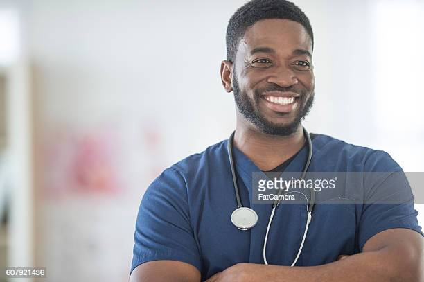 Nurse Working During His Shift