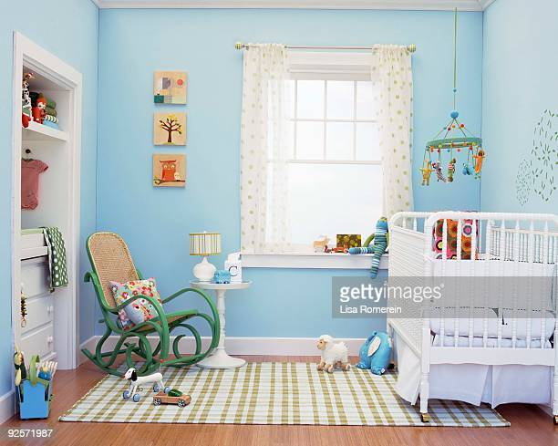 nursery interior - empty crib stock photos and pictures