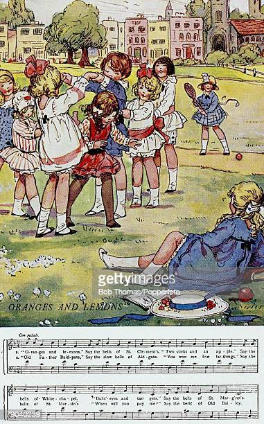 Nursery Rhyme Postcards Circa 1900 A colour illustration of some children playing together The sheet music to the nursery rhyme Oranges and Lemons is...