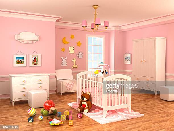 nursery room - empty crib stock photos and pictures
