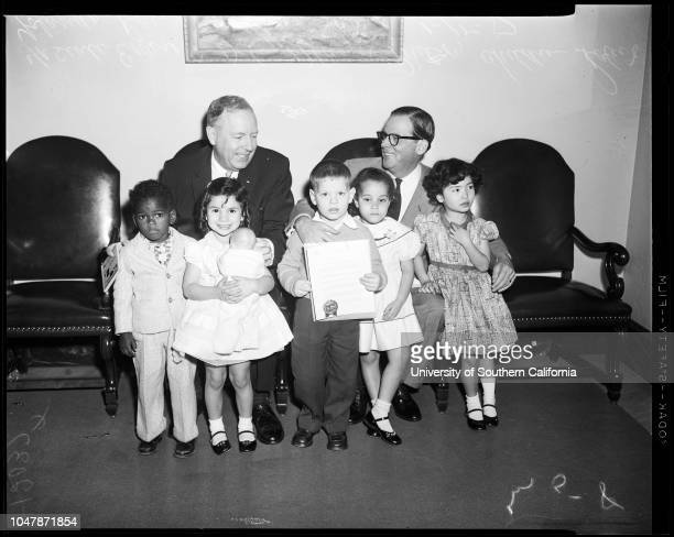 Nursery schools 15 January 1957 Ernest E Debs Mayor Norris PoulsonRobertYolandaRaySandraSonyaCaption slip reads 'Photographer Mitchell Date Reporter...