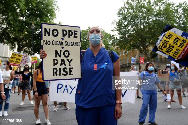 Nurses and other frontline NHS workers stage a protest at No 10 Downing Street after being left out of a public sector pay rise on August 08, 2020 in...