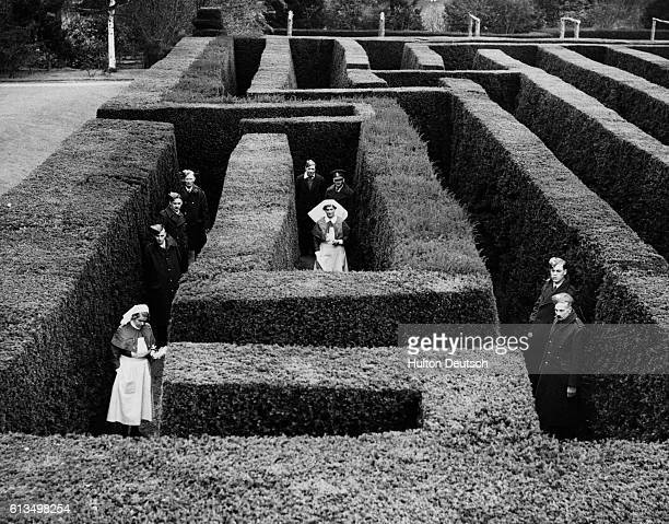 Nurses and soldiers enjoy the maze at Hatfield House Hatfield House the home of the Marquis of Salisbury has been converted into a military hospital...