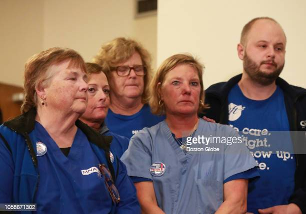 Nurses and supporters listen as Donna KellyWilliams President of the Massachusetts Nurses Association discusses the defeat of Ballot Question 1 at...