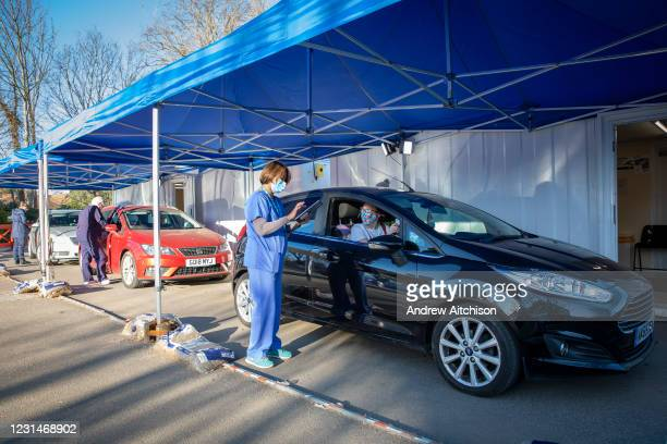 Nurses assessing Folkestone residents at a drive through medical centre about to receive their first dose of the COVID-19 AstraZeneca Oxford vaccine...