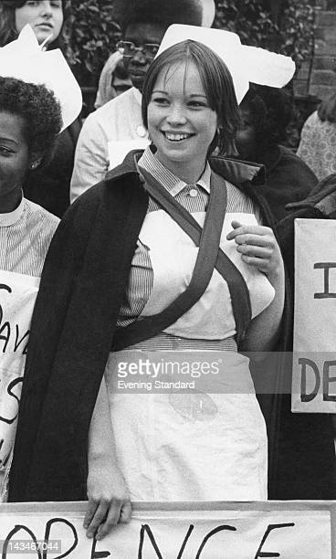 Nurses attend a demonstration at Tooting Broadway in London 30th May 1974