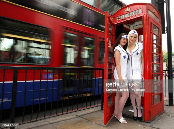 Nurses Debbie Bamford and Zoe Jones pose in Nurses uniforms from Ann Summers in London ahead of National Nurses Day 2008 on Monday 12th May