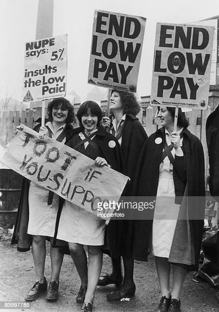 Nurses demonstrate against the British government's 5% pay limit for public sector workers January 1979