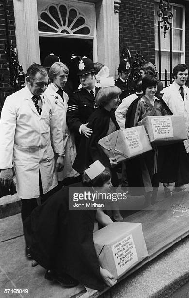 Nurses from the Royal College of Nursing deliver a petition to Number Ten Downing Street calling for better pay 2nd April 1979