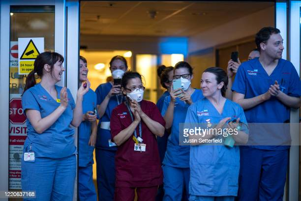 Nurses from The Royal London clap outside the hospital on April 23 2020 in London England Following the success of the Clap for Our Carers campaign...
