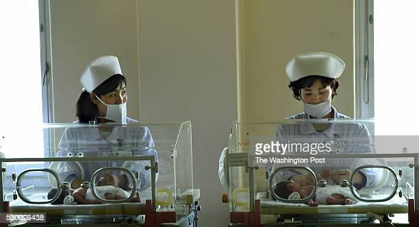 Nurses in the premature natal intensive care unit at the Pyongyang Maternity Hospital in Pyongyang, North Korea on May 7, 2016.