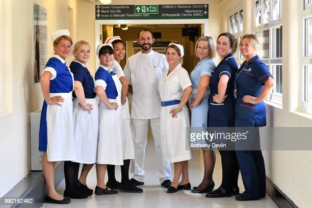 Nurses in uniforms to represent each decade of the NHS pose inside Trafford Hospital to celebrate the 70th birthday of the NHS at Trafford Hospital...