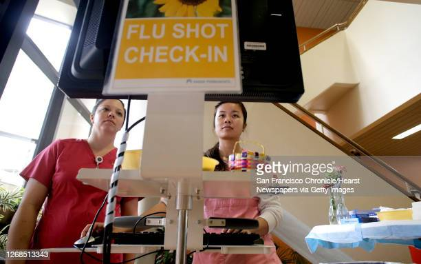Nurses Jessica Sotelo and Ginny To check in patients at the Kaiser Permanente flu clinic in Redwood City Calif on Thursday Dec 18 2014 Kaiser has...