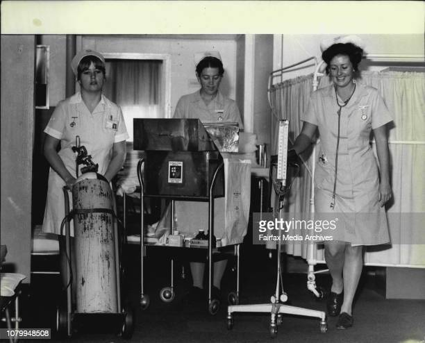 Nurses Margo Porter Anne Fallon and Julie Johnston at workNurses at the Prince of Wales Hospital at work June 17 1981