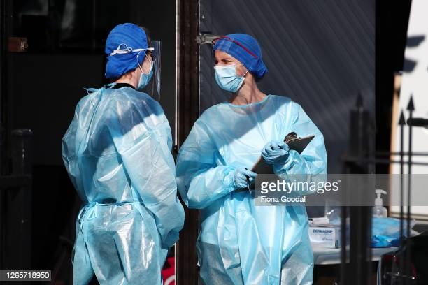 Nurses prepare to test people at a Covid19 testing facility in Eden Terrace on August 13 2020 in Auckland New Zealand COVID19 restrictions have been...