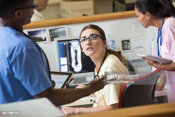 Nurses talking in hospital