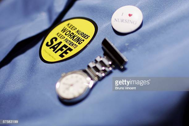 A nurse's tunic is seen as nurses from the Royal College of Nursing hold a rally to protest over lack of funding in their profession in Westminster...