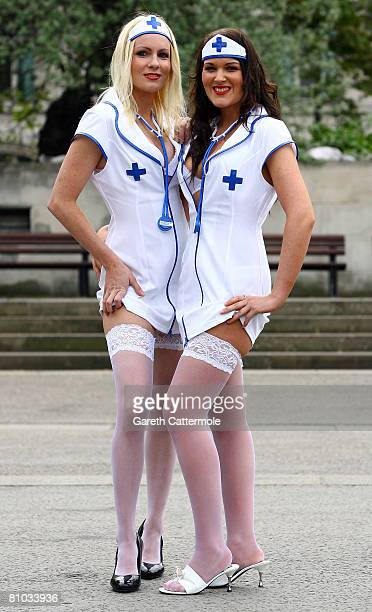 Nurses Zoe Jones and Debbie Bamford pose in Ann Summers outfits to highlight National Nurses Day on May 9 2008 in London United Kingdom The day falls...