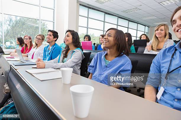 Nursing or medical students listenting to professor in lecture hall