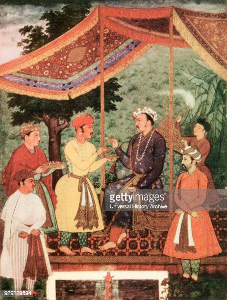 Nuruddin Mohammad Salim known by his imperial name Jahangir 1569 –1627 Fourth Mughal Emperor Depicted here drinking wine under a canopy After the...