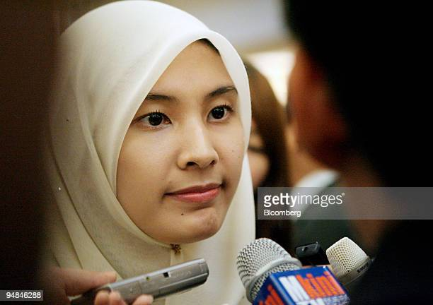 Nurul Izzah Anwar member of Parliament for Lembah Pantai and daughter of former Deputy Prime Minister Anwar Ibrahim speaks to the media during the...