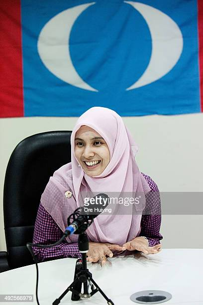 Nurul Izzah from Malaysian opposition party Parti Keadilan Rakyat and a current Member of Parliament for Lembah Pantai speaks to the press in an...